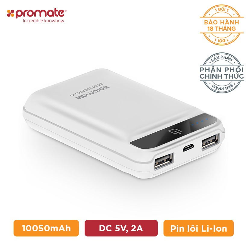 Pin sạc dự phòng Promate Card-10LT UltraPortable 10050mAh (Trắng)