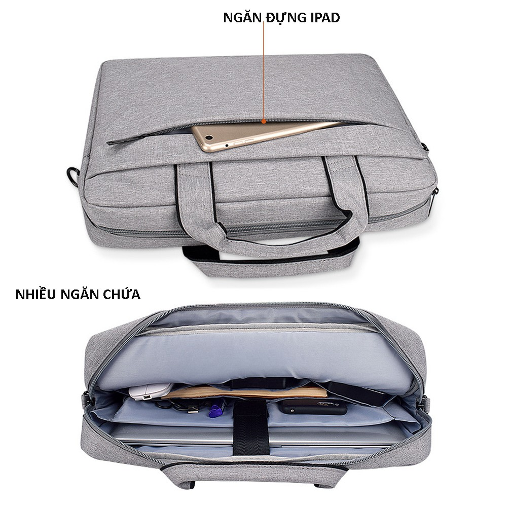 Cặp đựng laptop Laptop, túi chống sốc Macbook nhiều ngăn, chống nước, có tay xách và quai mang 15.6, 14.1,13.3 inch