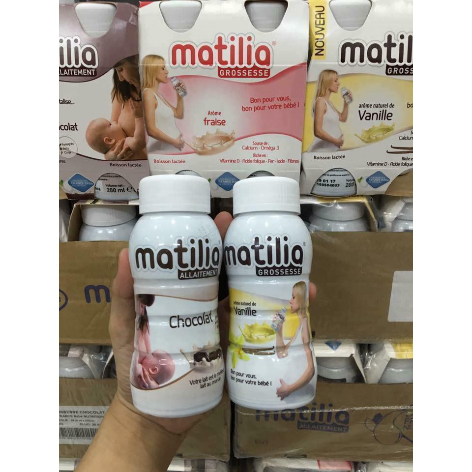 COMBO 24 chai Sữa Matilia đủ vị bầu socola / bầu vani/ bú socola/ bú vị vani