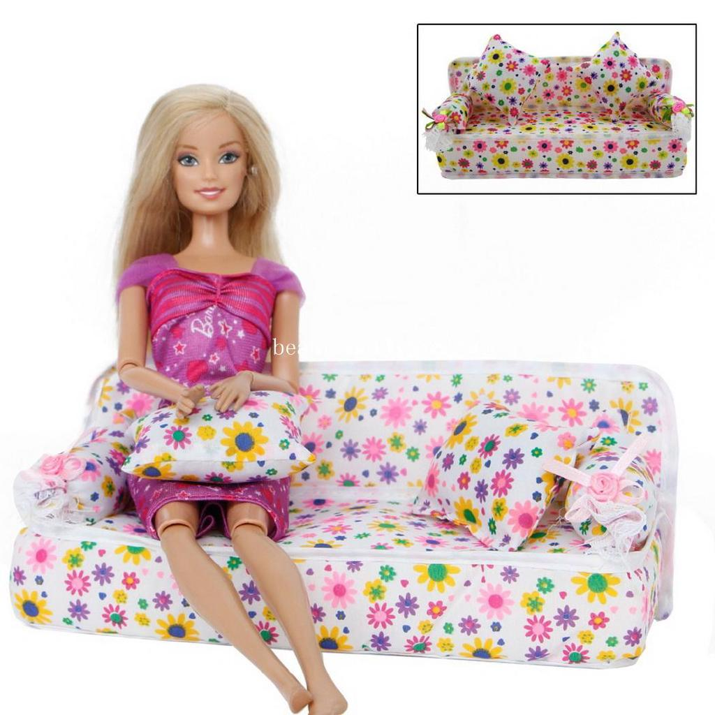 be 1 pc Children Toy Floral Mini Sofa Toy with 2 Cushions