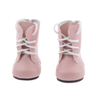 Pink Lace Up PU Martin Boots Shoes for 18inch American Dolls