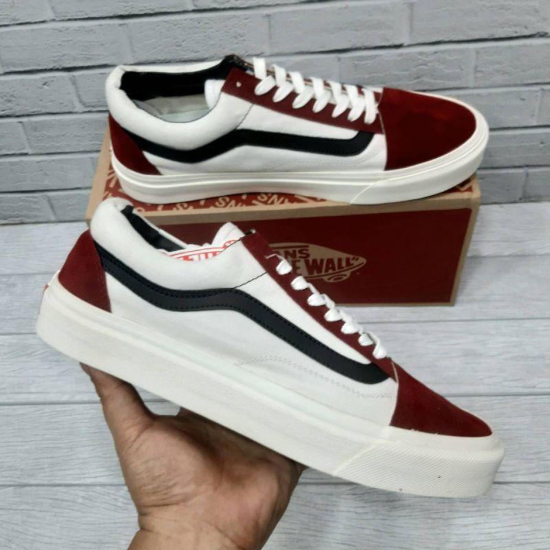 Giày Sneaker Vans Old Skool Maroon Màu Trắng Đen Thời Trang Cho Nam Nữ