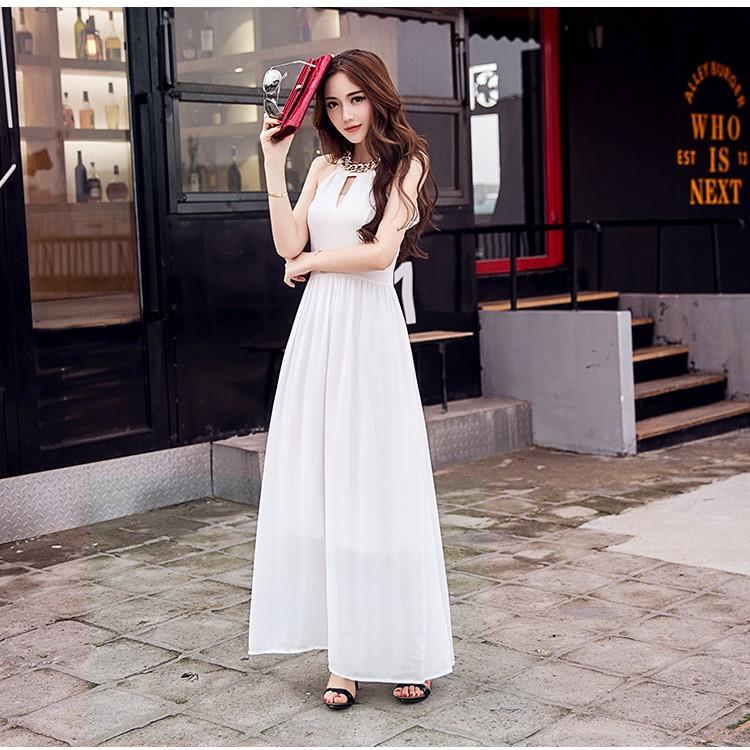 Đầm maxi cổ yếm xích dự tiệc cưới sang trọng ADnh346| Đầm maxi đi biển dạo phố màu trắng cách điệu
