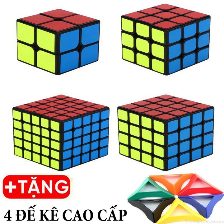 Rubik 2x2, 3x3, 4x4, 5x5 - Combo 4 Rubik Viền Đen Cao Cấp