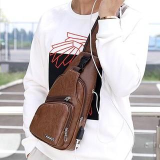 Túi đeo chéo thời trang Unisex , túi đeo chéo có cổng sạc USB phong cách Hàn Quốc
