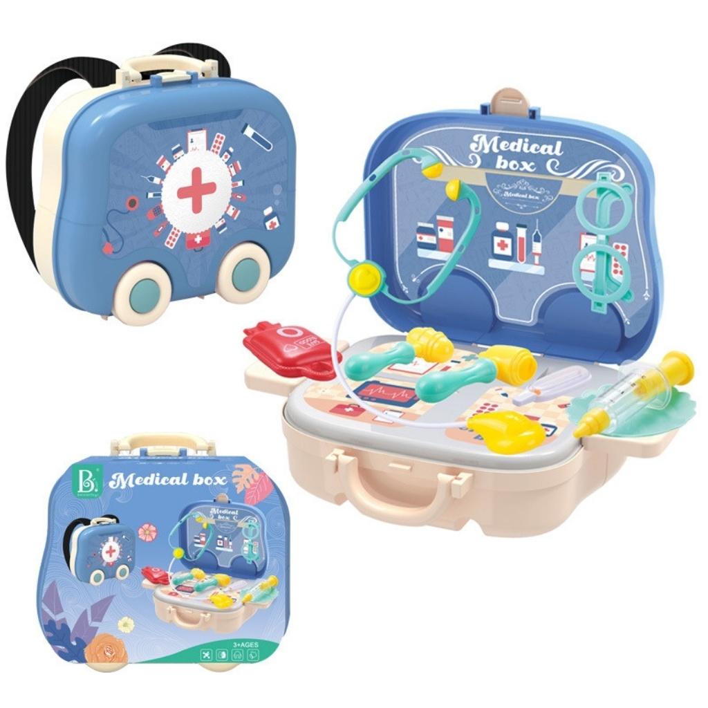 Bộ đồ chơi ba lô bác sĩ 2 trong 1 có quai đeo và có bánh xe đồ chơi bác sĩ cho trẻ