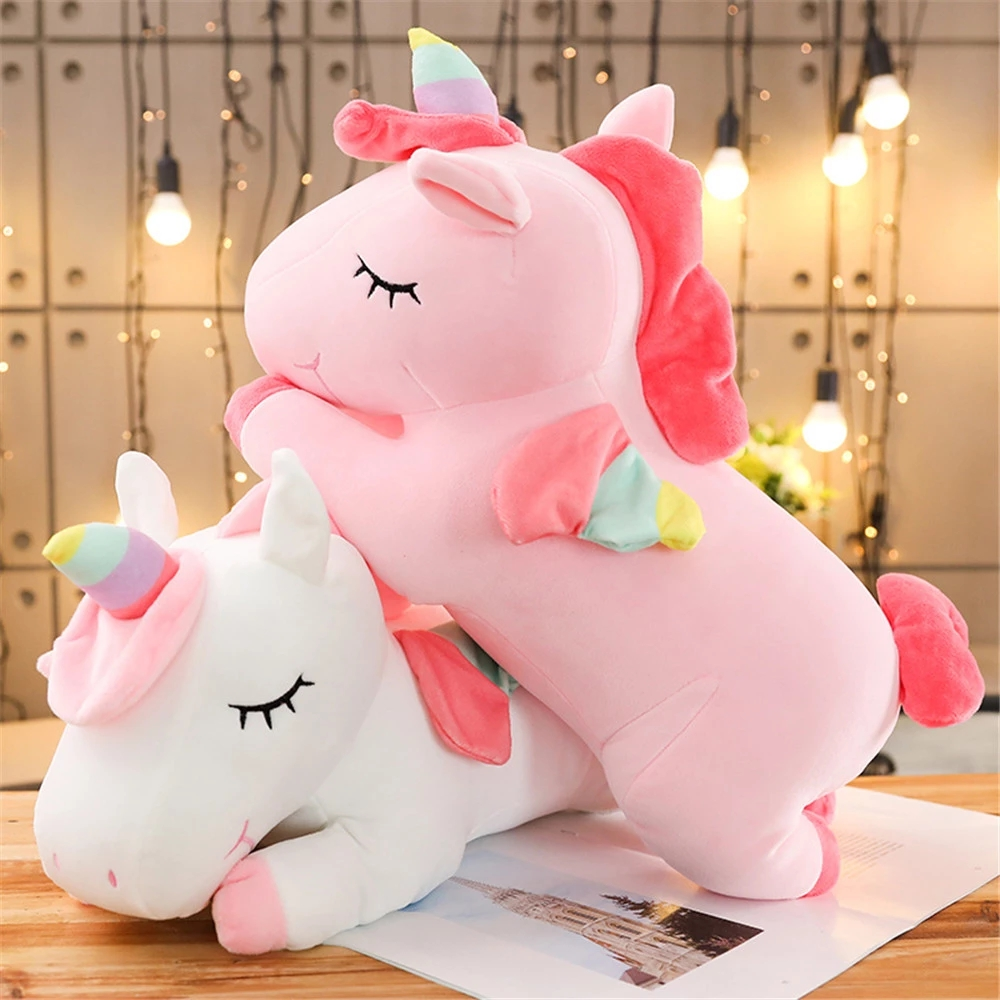 40CM/50CM/60CM/80CM Unicorn Stuffed Dolls Kawaii Soft Animal Unicorn Plush Toys for Gift PP Cotton Soft Toys Pillow Kids Sleeping Pillow Hom