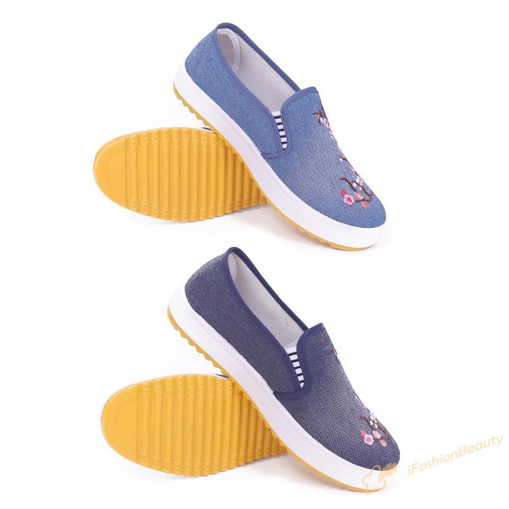 Giày Lười Nữ Thêu Hoa