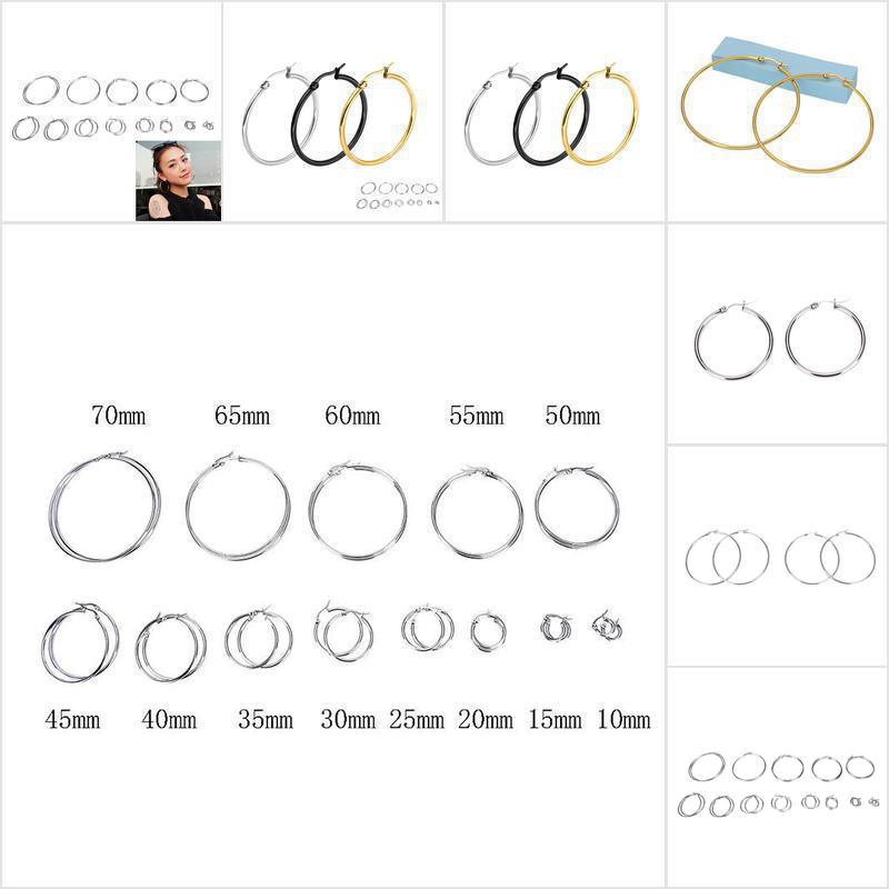Khuyên tai tròn 2mm bằng inox mạ bạc thời trang