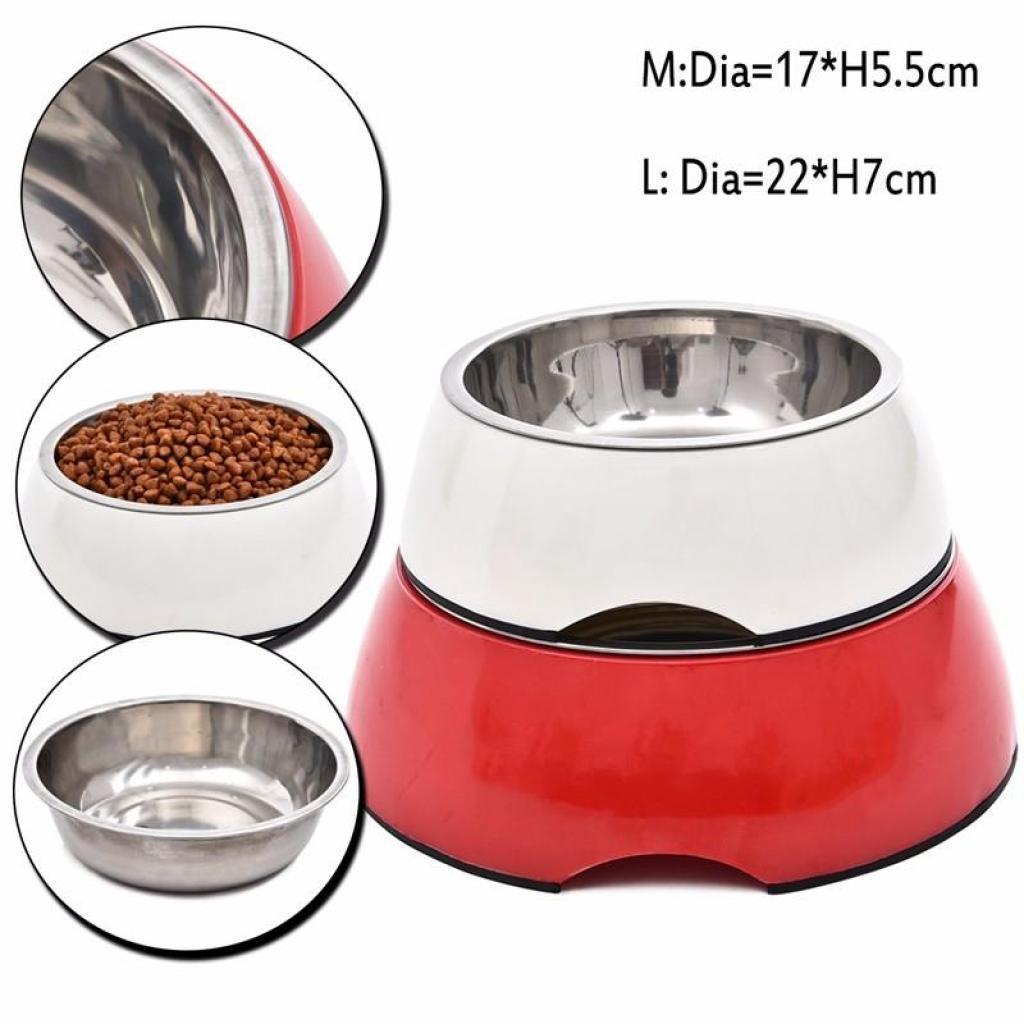 Pet Bowl ชามอาหารสแตนเลส ขอบเมลามีน พร้อมยางกันลื่น สำหรับสุนัขและแมว Size M ขนาด 17x5.5 ซม. (คละสี)ัตว์เลี้ยง Pet Bowl