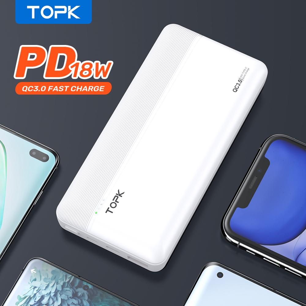 Sạc dự phòng TOPK I2015P 18W 20000mAh cho HUAWEI Samsung Xiaomi OPPO Vivo Realme