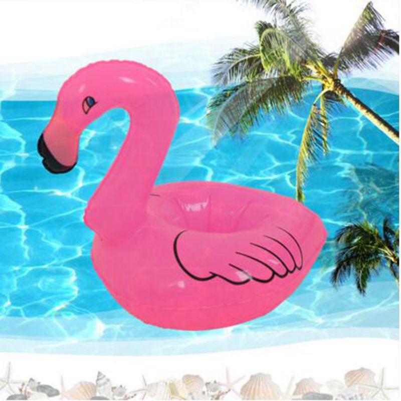 Phao bơi bơm hơi đựng lon nước hình chim hồng hạc