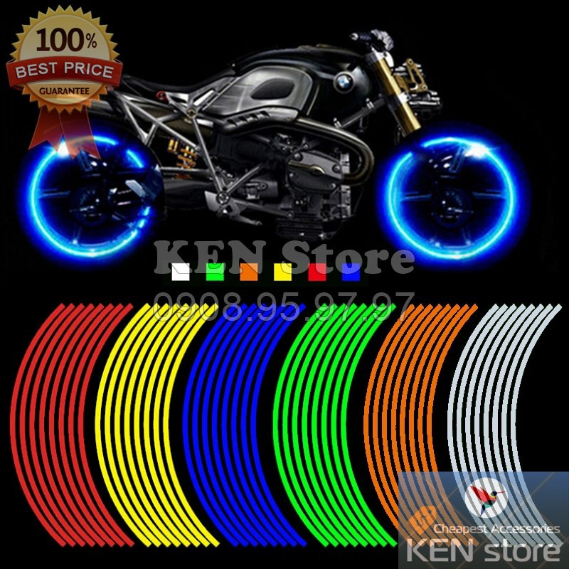 Bộ decal phản quang dán mâm xe máy, ô tô
