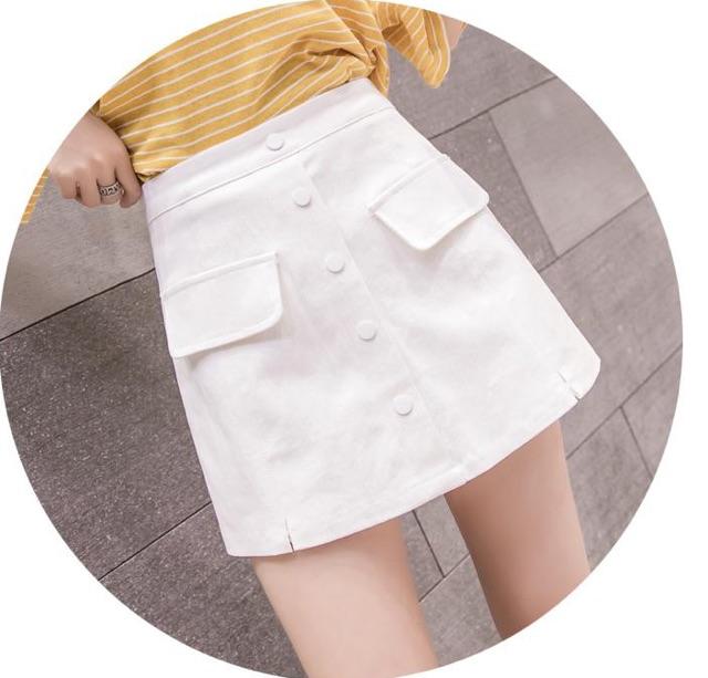 Quần váy chữ a ngắn phối túi nắp cá tính , Váy nữ đẹp trẻ trung có túi nắp [Quần váy nữ ngắn]