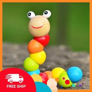 Đồ chơi con sâu bằng gỗ dài 18cm có thể uốn lượn giúp bé nhận biết màu sắc
