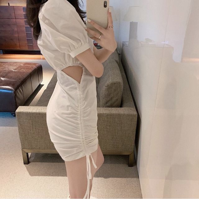 Đầm trắng dự tiệc dây rút khoét eo trang trọng siêu phẩm