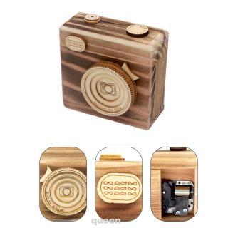 Camera Model Photography Props Handmade Retro Wooden Ornament Kids Toy Desktop Music Box