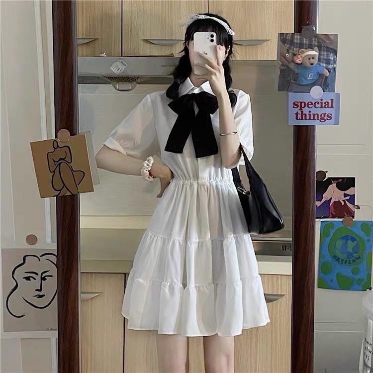 Mặc gì đẹp: Bồng bềnh với Váy  babydoll cổ nơ tay phồng dự tiệc, váy đầm dáng xoè phong cách ulzzang V18 thời trang nữ emmei