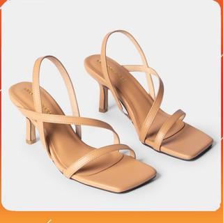 PAMELA - Giày Sandal Cao Gót 7p Quai Mảnh Mũi Vuông Quai Ngang Phối Dây Tinh Tế - S22