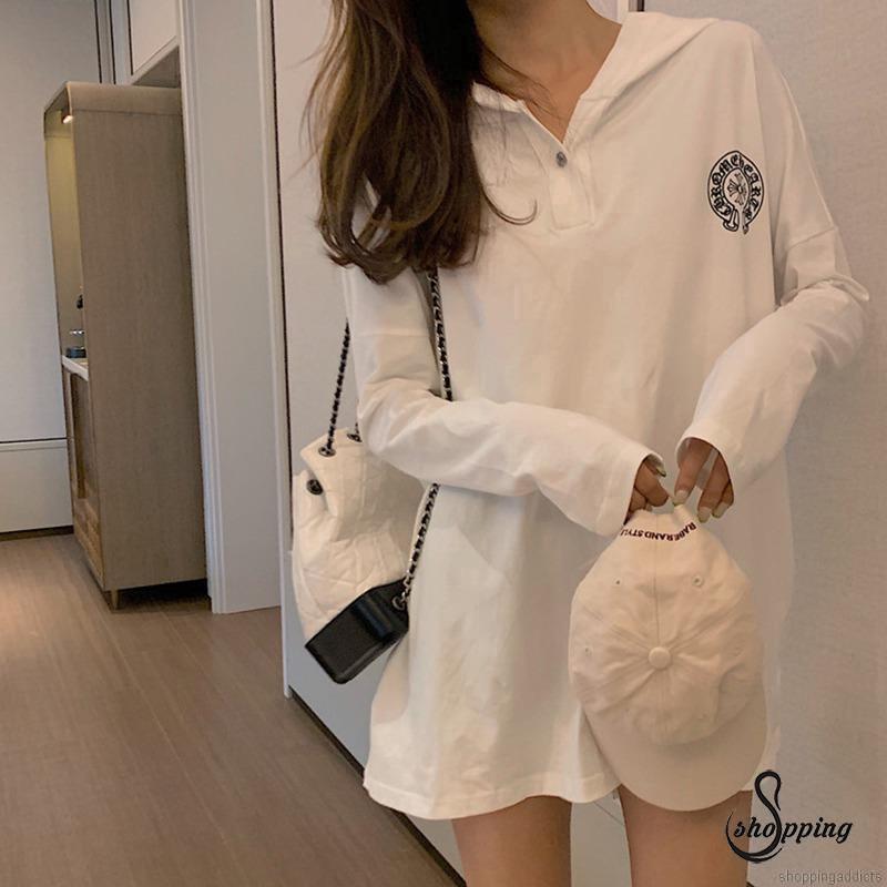♥SHOPG♥ Women Fashion Hat Collar Loose Printing T-Shirt Bottoming Wild Casual Tops