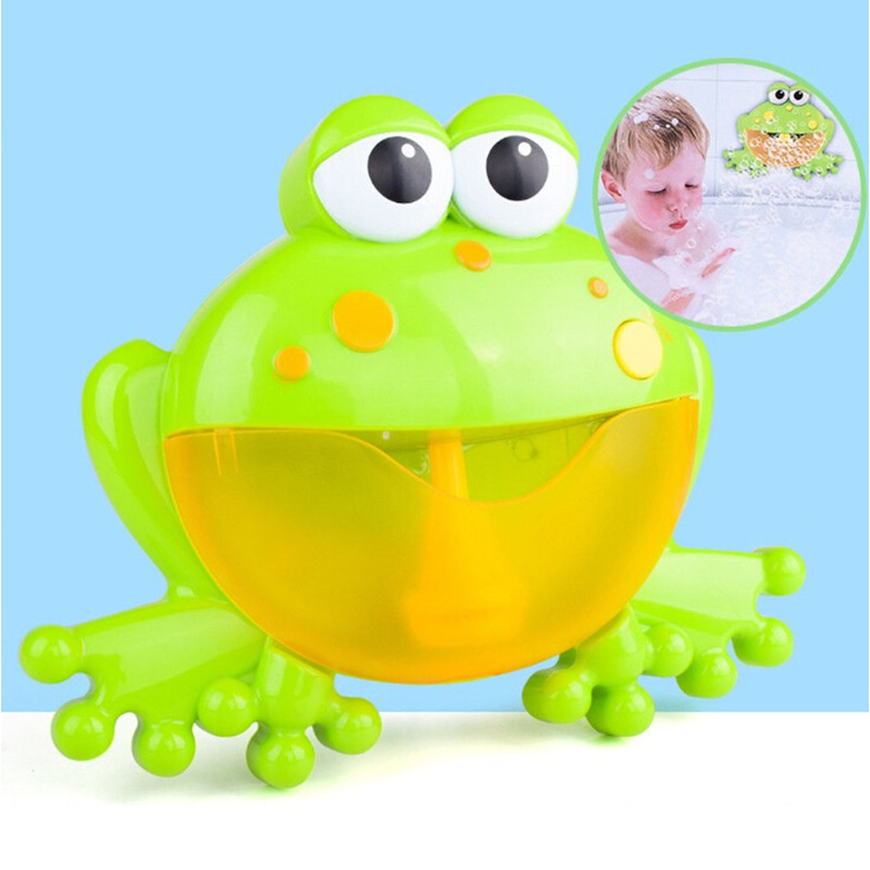 For Baby Bubble Machine Big Frog Automatic Bubble Maker Blower Music Bath Toys