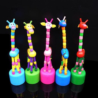 ♞Baby Kid Wooden Colorful Standing Rocking Dancing Giraffe Gift Intellectual Toy