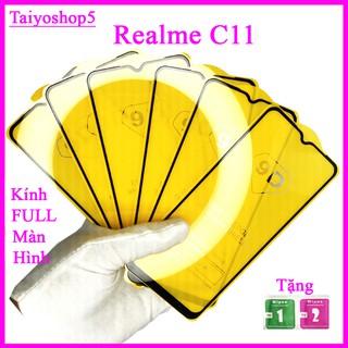 Kính cường lực REALME C11, Kính cường lực full màn hình, Ảnh thực shop tự chụp, tặng kèm bộ giấy lau kính thumbnail
