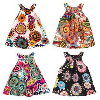 DUDUBABA Đầm cotton 2 dây hoạ tiết hoa nhiều màu sắc xinh xắn cho bé gái