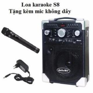 Loa Bluetooth Karaoke Daile S8 Xách Tay (Tặng Kèm Micro Không Dây)