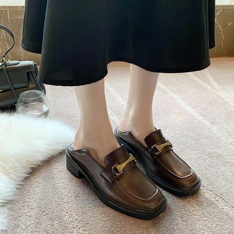Giày Da Phối Nhung Kiểu Retro Anh Thời Trang 2020 Cho Nữ