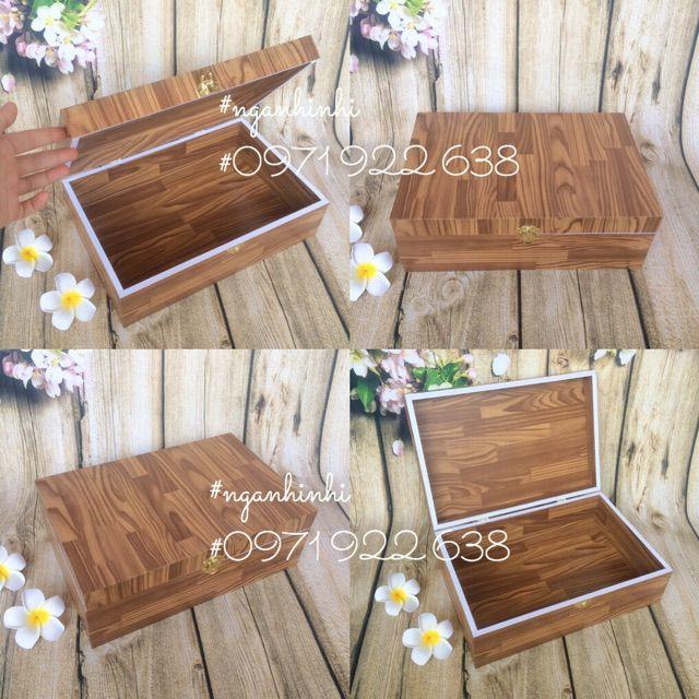 Hộp gỗ có khóa gài đựng trang sức vật dụng linh tinh