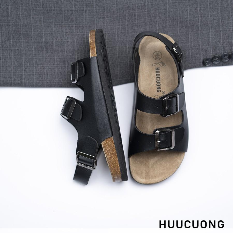 Sandal 2 khóa đen đế trấu