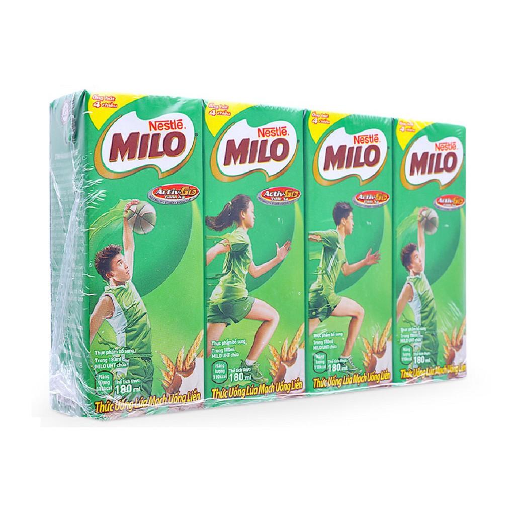 Thức uống lúa mạch Milo Nestle hộp 180ml (lốc 4 hộp)