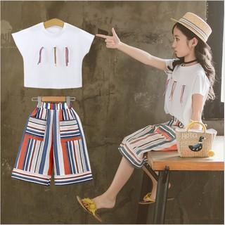Bộ đồ áo thun và quần lửng cho bé gái từ 3 đến 14 tuổi BL020