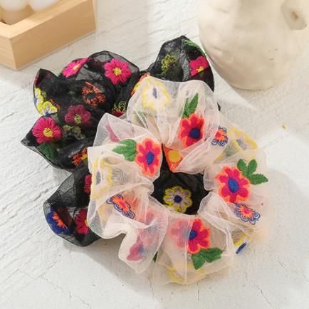 Dây Cột Tóc Lưới Vải Scrunchies Bông Hoa Nhiều Màu.