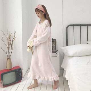 Autumn and winter new cute plush velvet thick ruffled long-sleeved pajamas dress
