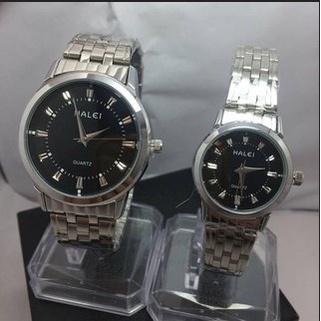 Đồng hồ cặp đôi nam nữ Halei mặt đen