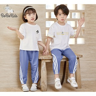 Quần jogger dành cho cả bé trai và bé gái, Bo ống, viền kẻ thể thao, full size từ 8-25kg