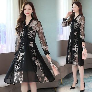 Váy đầm trung niên nữ thêu hoa mẫu mới 2021