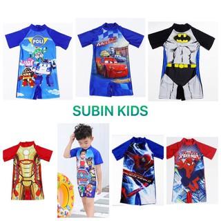 (Trợ giá) Đồ bơi bé trai SBBT09 cho bé 12-28kg bộ bơi bé trai liền thân siêu nhân (hàng QC có sẵn,xấu hoàn hàng) SUBIN