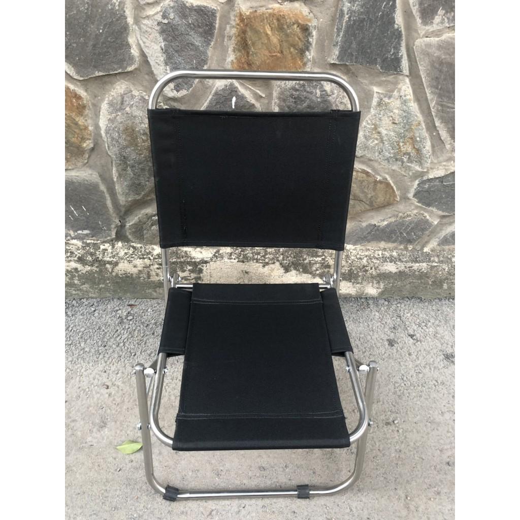Ghế xếp inox lưng thấp, ghế ngồi câu cá