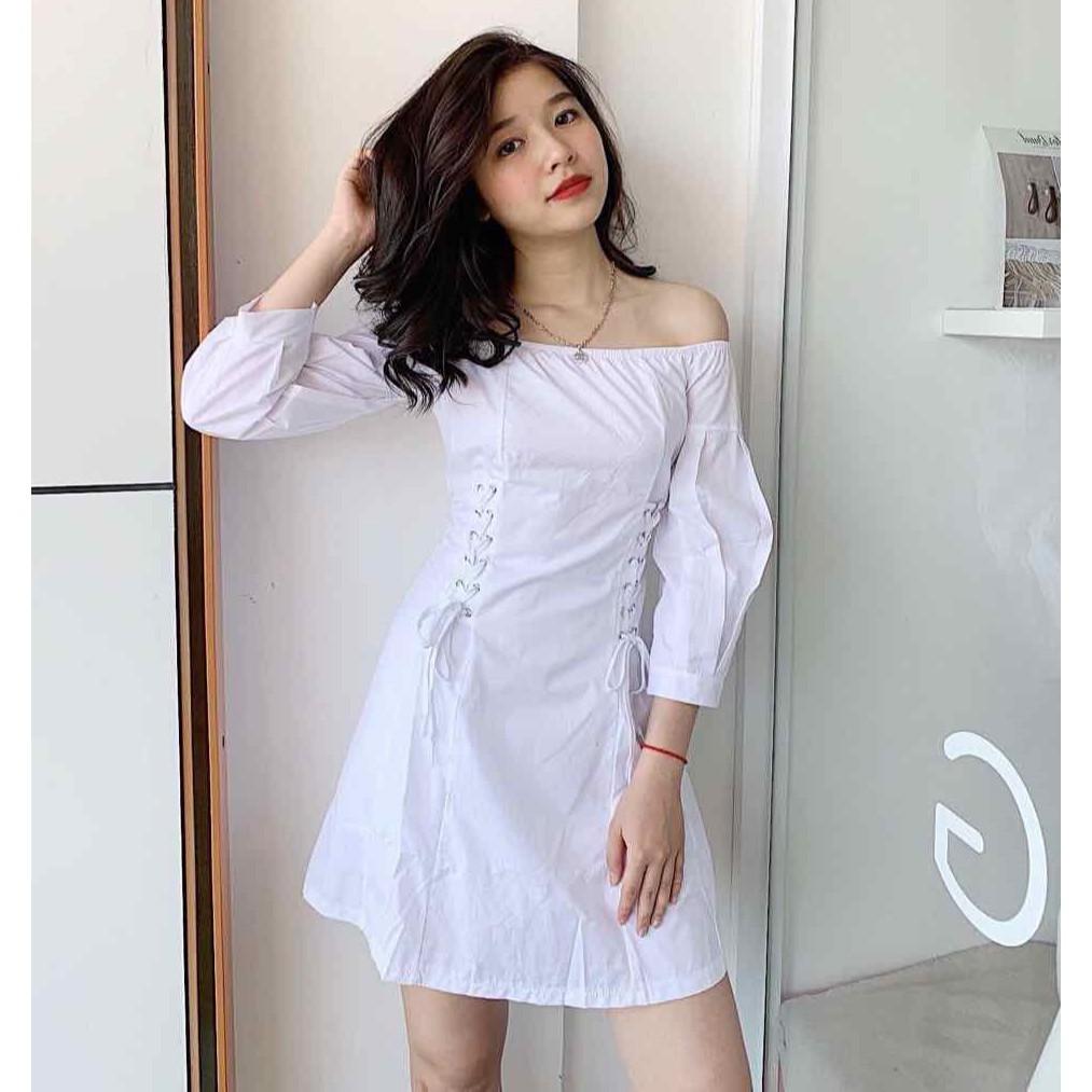 Đầm trắng dự tiệc trễ vai đan 2 dây eo siêu xinh