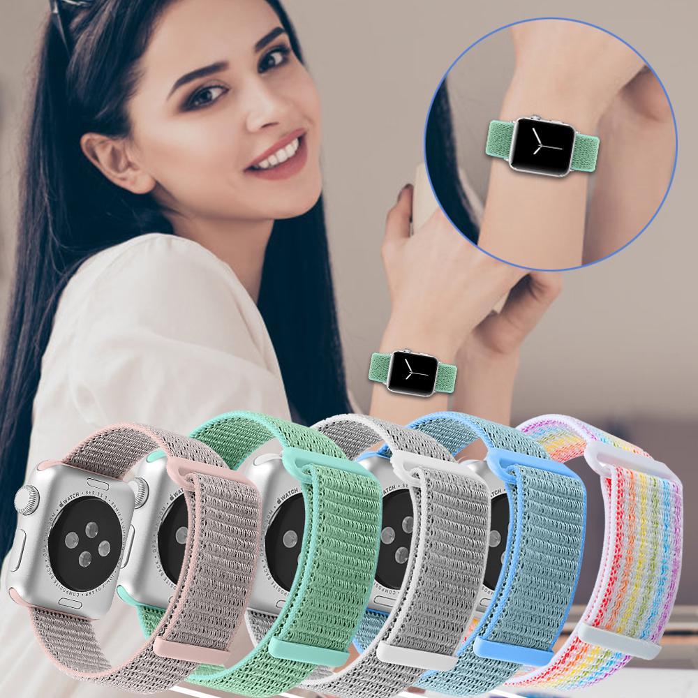 Dây đồng hồ Apple watch 42mm 4 3 2 1 38mm 44mm 40mm chất liệu nylon màu trơn