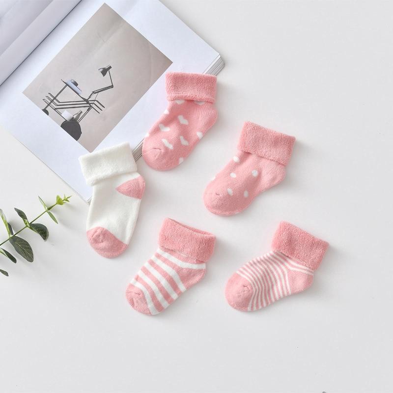 Set 5 đôi vớ cotton hoa văn hoạt hình dành cho bé