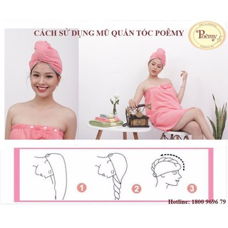 Hình ảnh Mũ quấn tóc POÊMY SỌC GÂN - Mũ quấn tóc Poêmy siêu tiện lợi, thấm hút khô nhanh-2