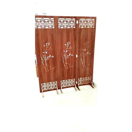 Bộ 3 tấm vách bình phong ngăn phòng, màu nâu cánh gián (357) kích thước 180x150cm TẶNG 6 chân vách  - HOME DECOR