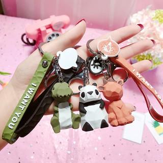 卡通創意切面幾何家族鑰匙扣掛件韓國可愛粉熊鑰匙鏈樹脂情侶掛件
