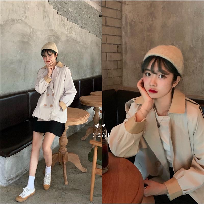 Áo khoác nữ dài tay cổ bẻ form dài rộng thời trang Hàn