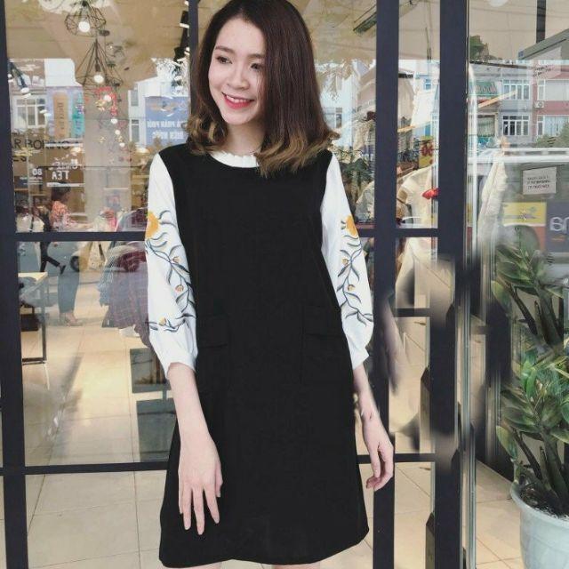 Đầm xanh đen thêu