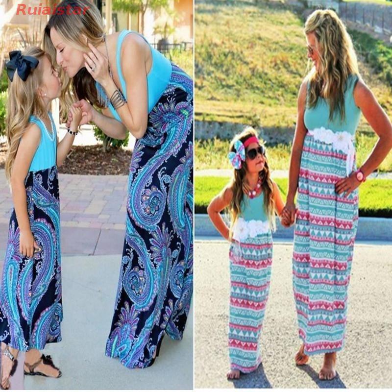 1615170887 - Đầm 2 dây dáng suông dài họa tiết đẹp mắt cho mẹ và con gái đầm rộng đầm tay dài váy suông đầm chấm bi đầm boho váy lép